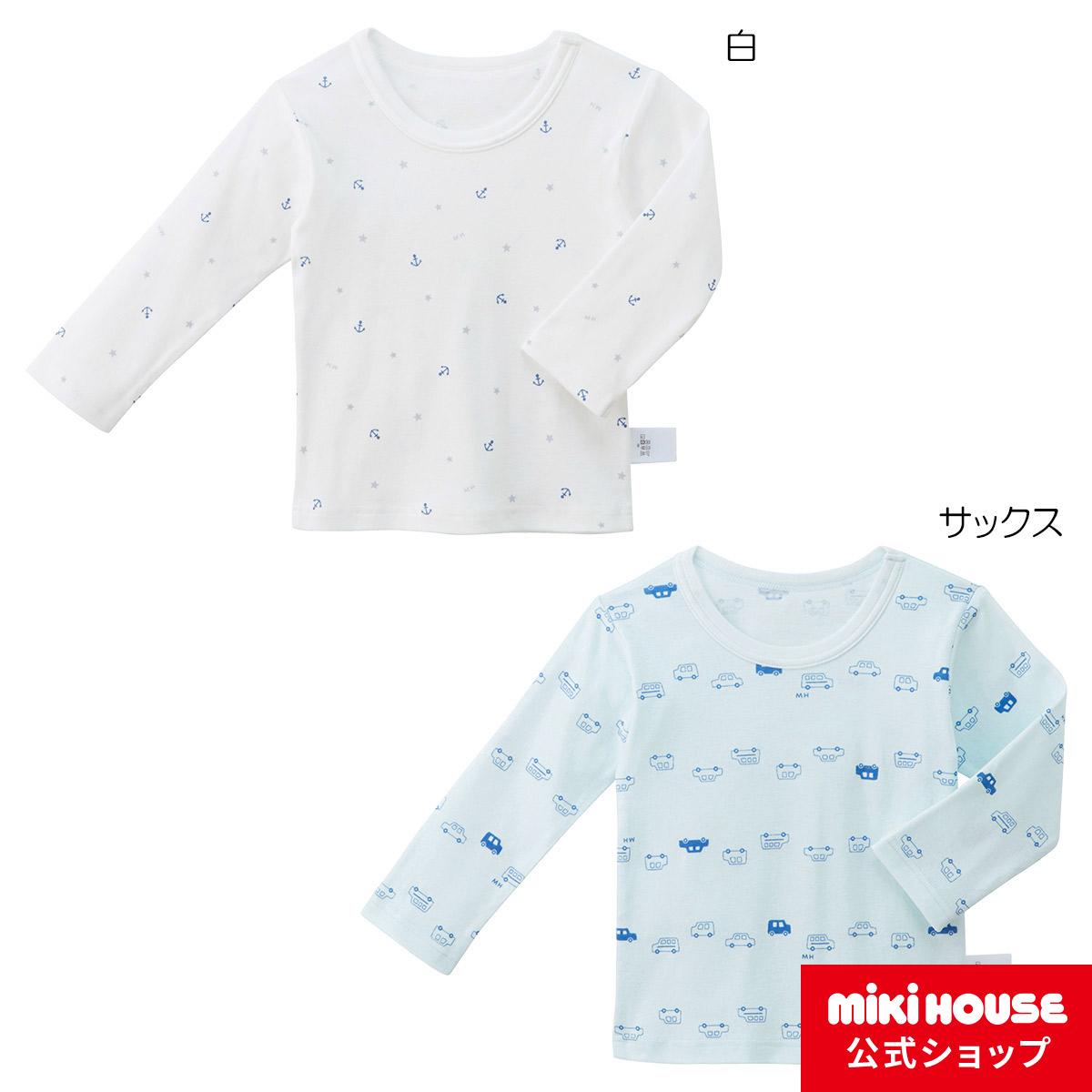 ミキハウス イカリ&車 長袖Tシャツ(80cm-130cm)