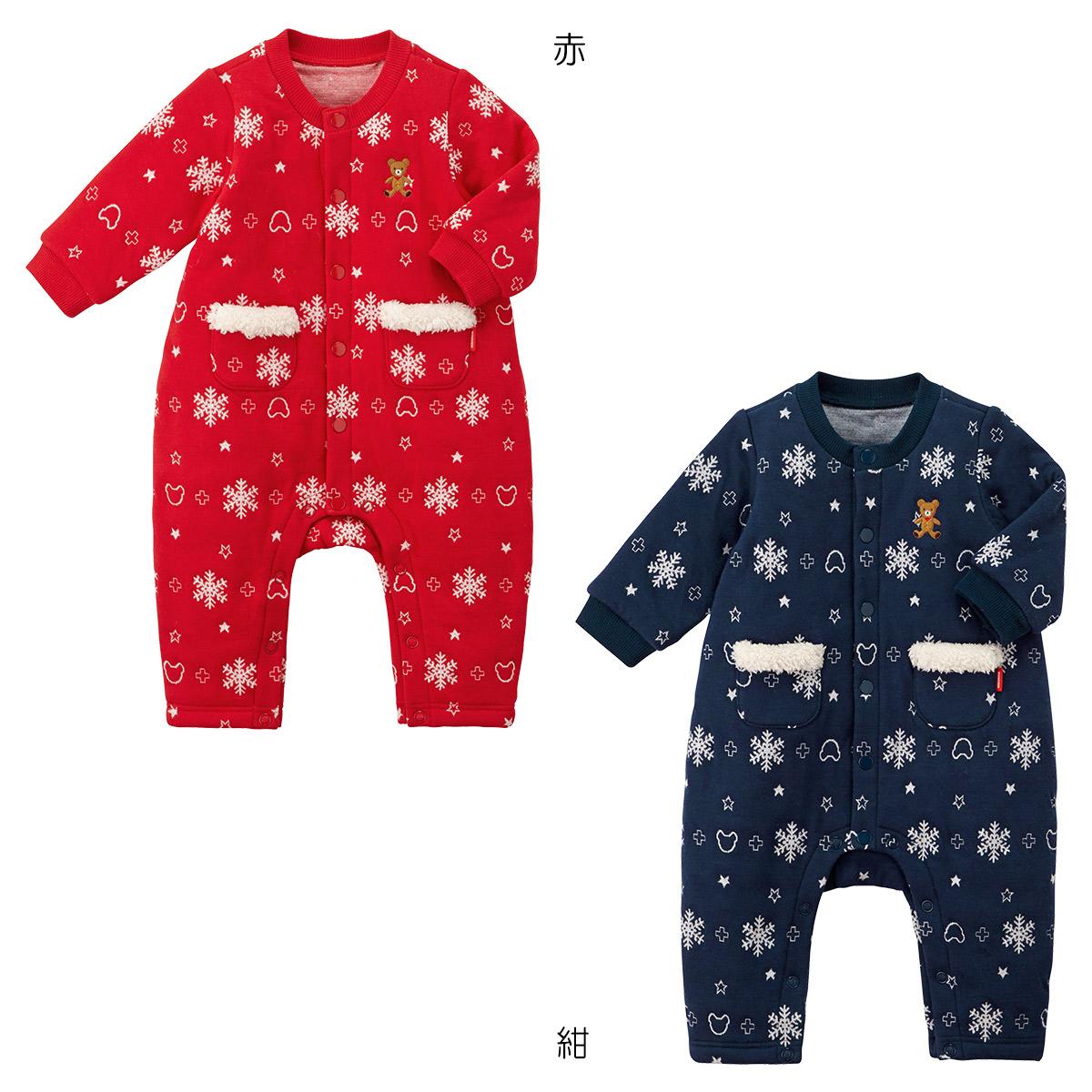 ミキハウス mikihouse ニットキルトジャカード カバーオール(70cm・80cm) 男の子 女の子 子供 ベビー服 ベビー 赤ちゃん 長袖 かわいい 暖かい ニット ボア フリース 雪柄