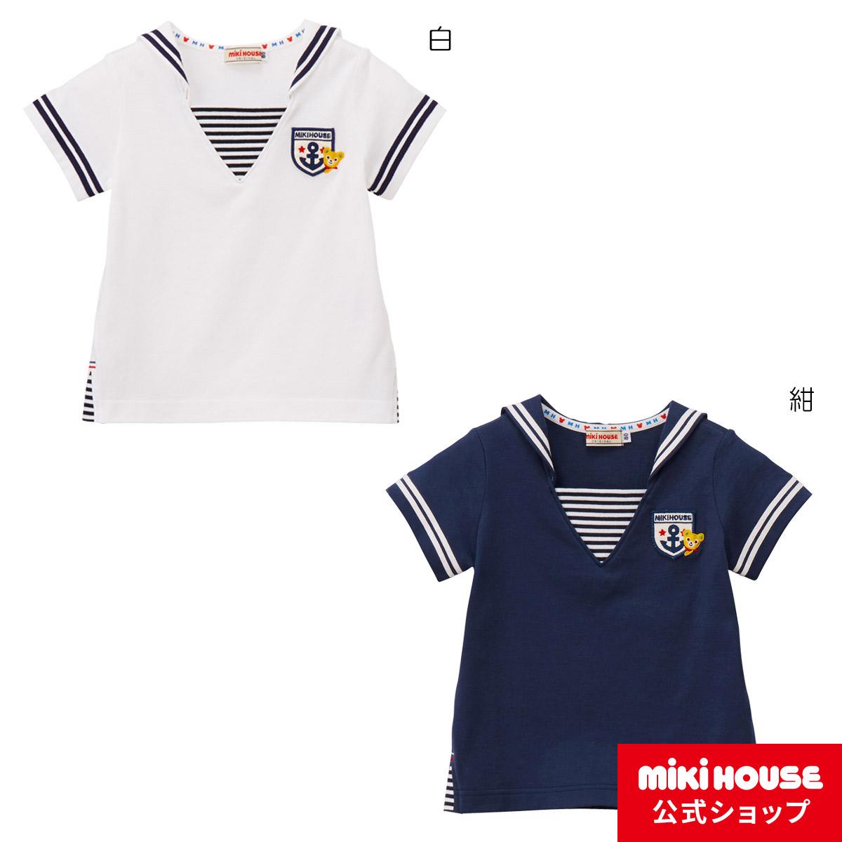 ミキハウス mikihouse セーラーカラー☆プッチー半袖Tシャツ(100cm・110cm) 男の子・女の子 半そで かわいい こども 子供服