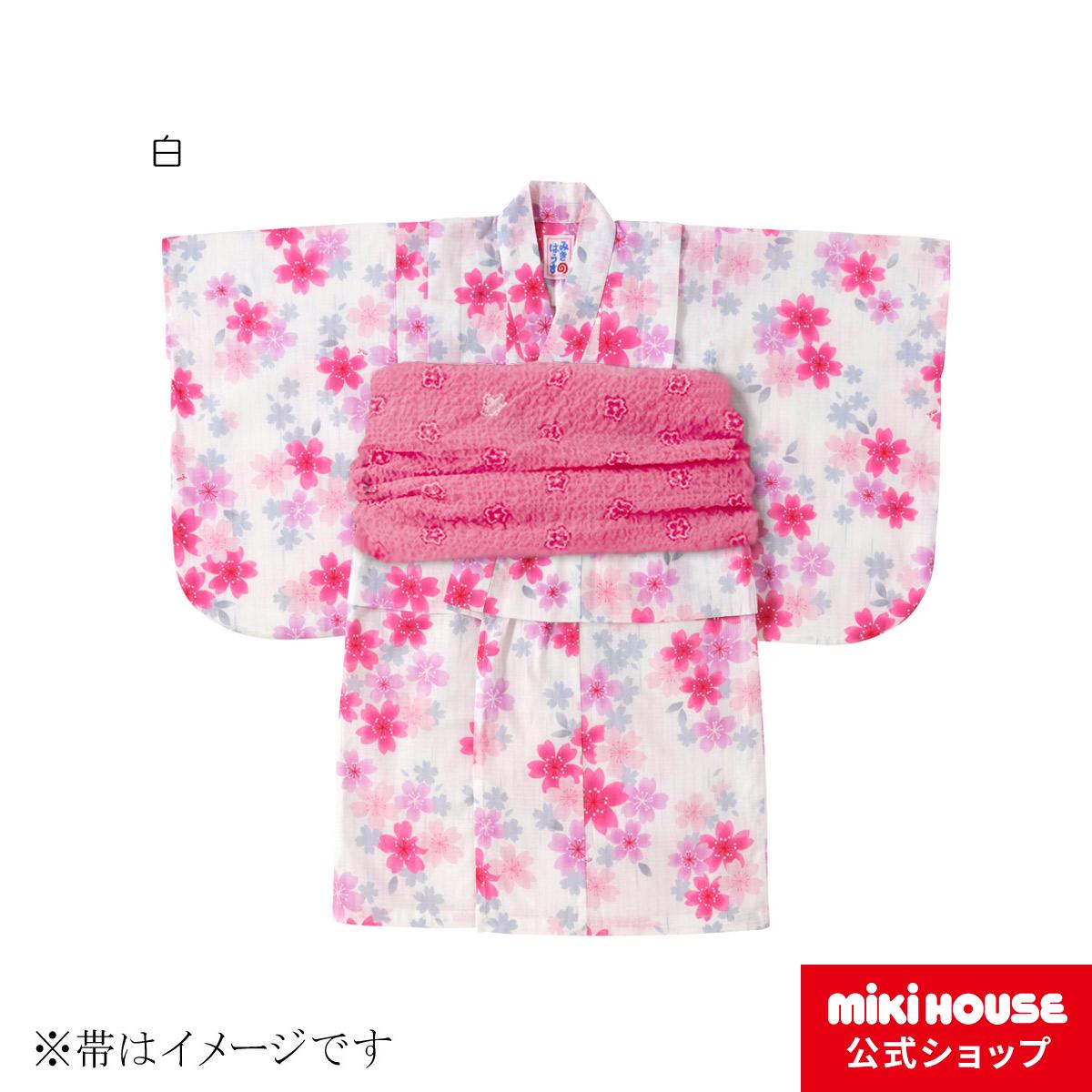 ミキハウス mikihouse さくらしぐれ柄浴衣(女児用)〈110cm(90cm-110cm)〉 バーゲン