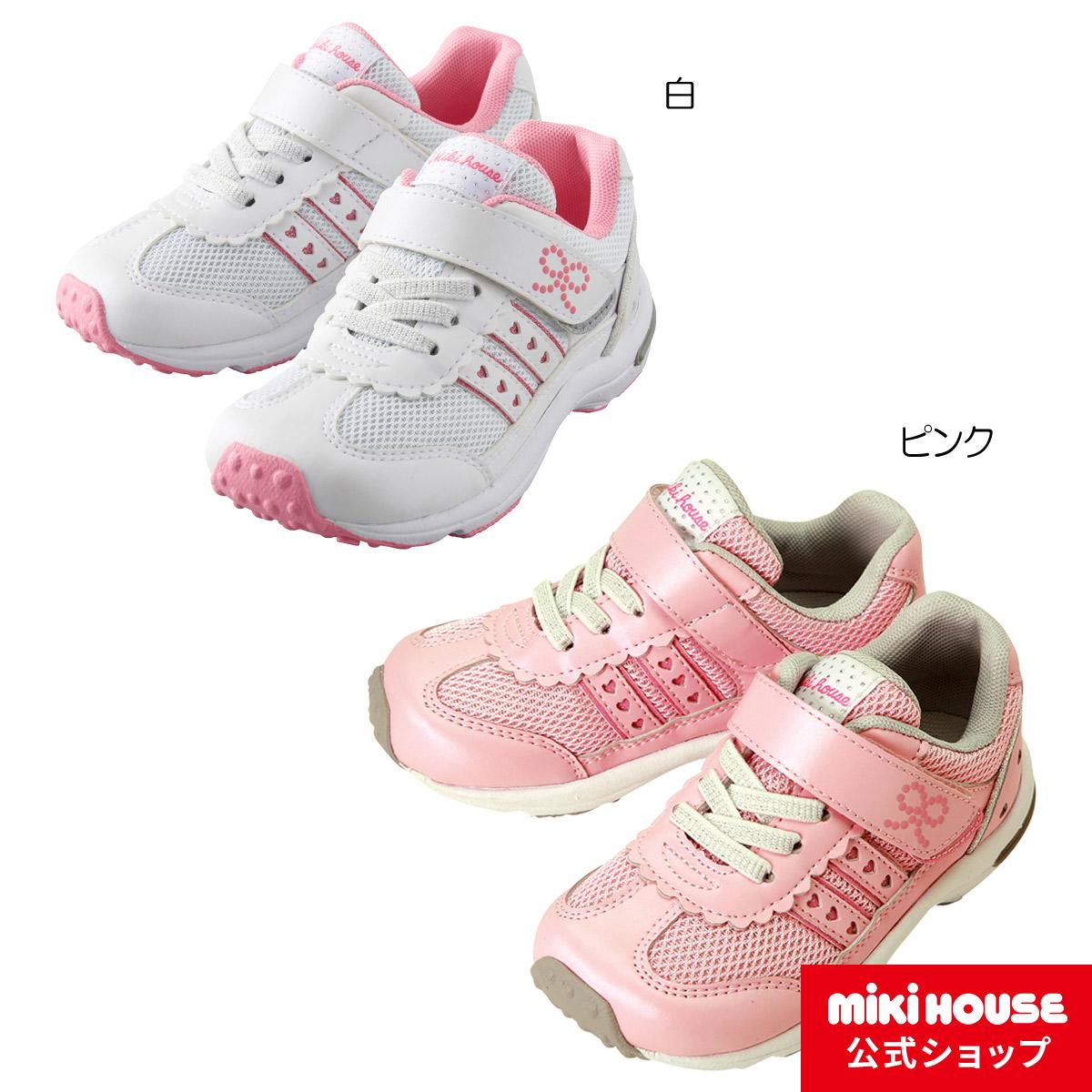 ミキハウス mikihouse ハート&リボン♪スポーティキッズシューズ(15cm-21cm) キッズ 子供 靴 スニーカー 女の子