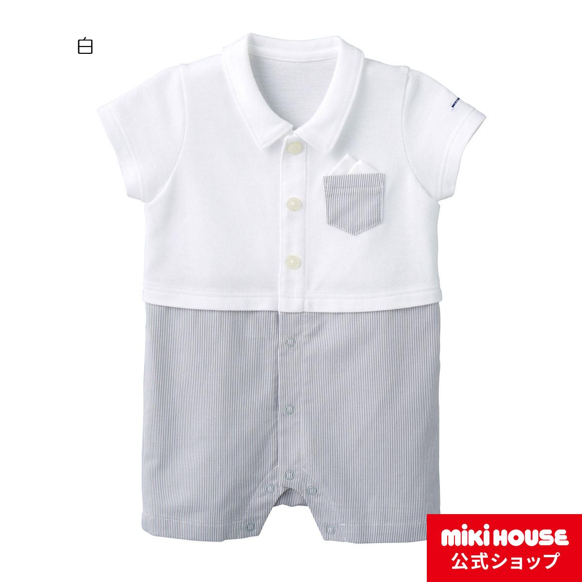 ミキハウス mikihouse ポケットチーフ付きサマーフォーマルショートオール(70cm・80cm) バーゲン
