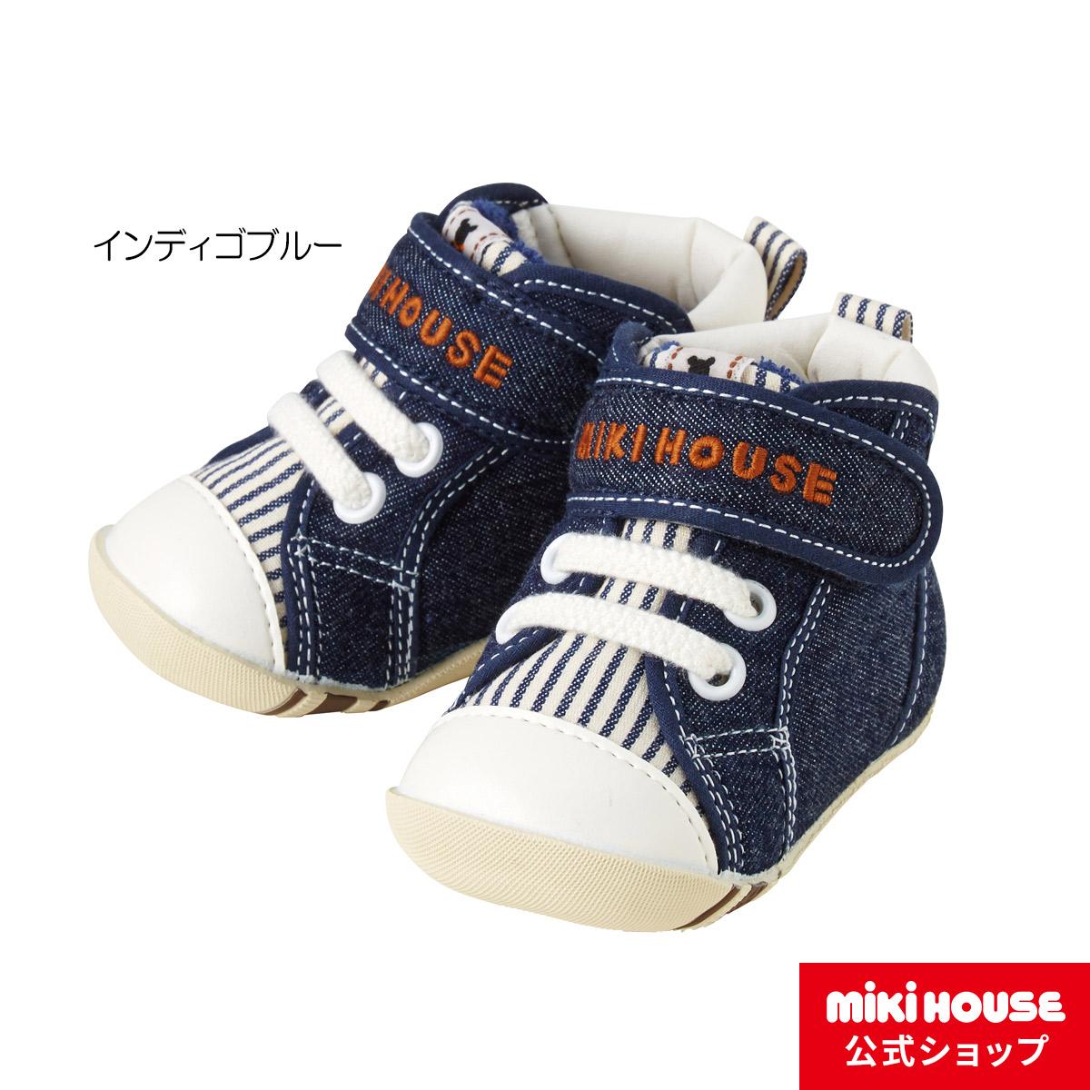 ミキハウス mikihouse  デニム素材のベビーファーストシューズ (11cm-13cm)  ベビー 赤ちゃん 男の子 女の子 靴 プレゼント 出産祝い