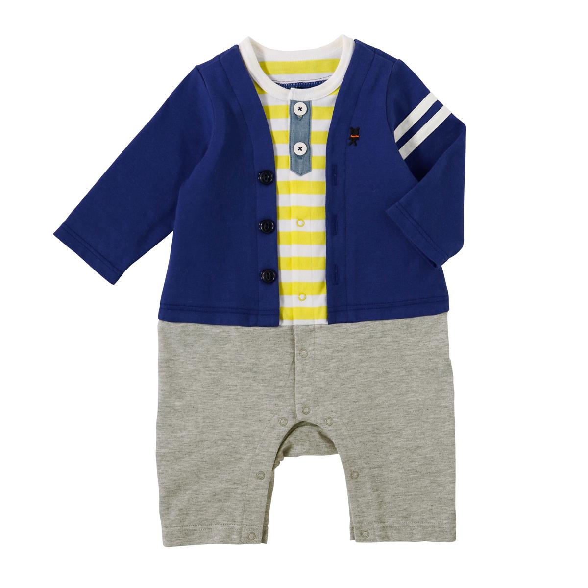ミキハウス mikihouse カーディガンスタイル風カバーオール(70cm・80cm) 男の子 子供 ベビー服 ベビー 赤ちゃん 前開き セパレート風 天竺素材