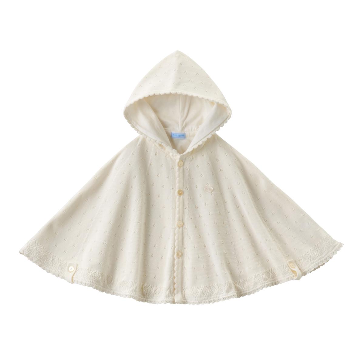 ミキハウス mikihouse 透かし編みケープ〈フリー(50cm-90cm)〉 ベビー服 子供服 赤ちゃん 女の子 男の子 UVカット アウター