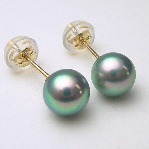 Pt900 K18 K14wg Pearl Oyster Pierced Earrings Green Blue System