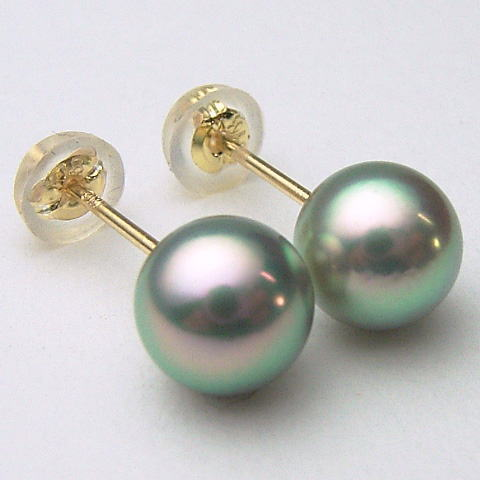 K18/K14WGアコヤ真珠ピアス(グリーン、グレー系)(SVイヤリング、チャーム)【6.5mm-7mm】ewn-5850【メール便送料無料】(あこや本真珠 アコヤ本真珠 あこや真珠 黒真珠 和珠 パールピアス 本真珠 パール 直結 18金 )