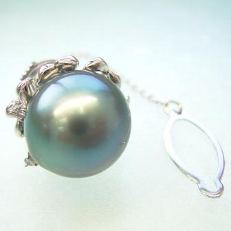 PT 大溪地黑珍珠蝴蝶领带钉 okj-5042 (黑色珍珠大溪地从珍珠领带夹男式白金)