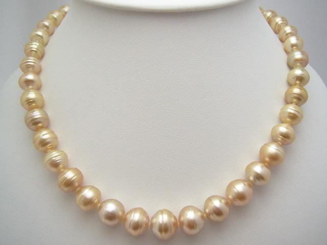 South Sea White Pearl Necklace (natural gold) (circles) nsl-5512 (South Sea pearls this Pearl Pearl)