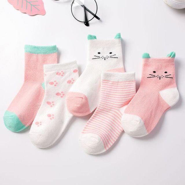商品 ベビーソックス いつでも送料無料 赤ちゃん靴下 2020年最新 綿 通気性 柔らかい 5足セット 猫模様 男の子 女の子 可愛い靴下