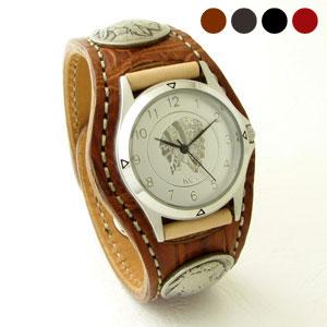 KC,s腕時計(ケーシーズ)クロコダイル ワニ革 3コンチョレザーウォッチ 4色KPR506【ケイシイズ】
