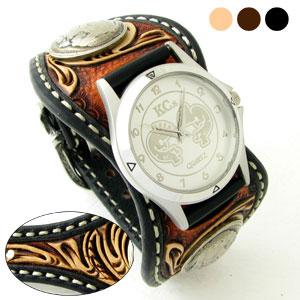 KC,s腕時計(ケーシーズ)クラフトデラックス フローラル柄 牛革 ダブルバット エスパニョーラ ベルト式 3色KPR509【ケイシイズ】