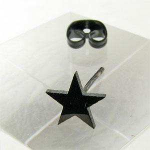 シンプルなブラックカラーの星 ギフ_包装 ピアス 金属アレルギー ブラックカラー スター kp14025 星 モチーフ スタッド型ステンレスピアス 売買
