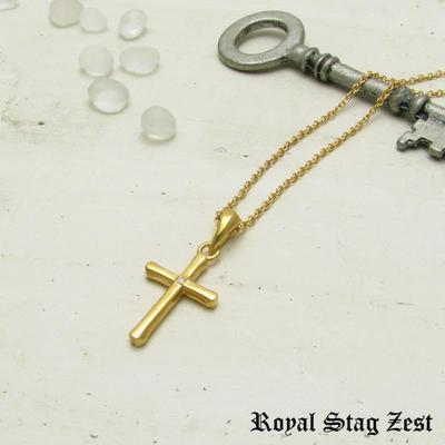 ネックレス メンズ レディース シルバー K23RGP ゴールド RoyalStagZEST クロス 十字架 スモールサイズ 天然 ダイヤモンド SN26-002【ペンダント】