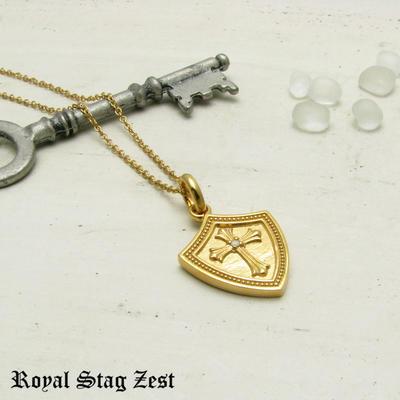 ネックレス メンズ シルバー K23RGP ゴールド RoyalStagZEST クロス シールド 盾 ラージサイズ 天然 ダイヤモンド SN26-003【ペンダント】