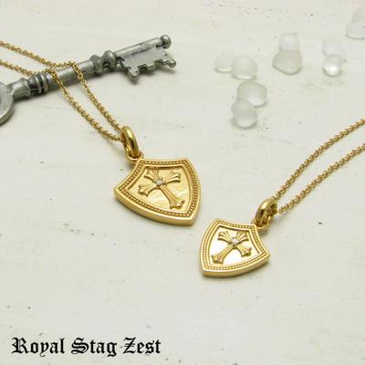 ペアネックレス シルバー K23RGP ゴールド RoyalStagZEST クロス シールド 盾 天然 ダイヤモンド 二個セット SN26-003004【ペンダント】