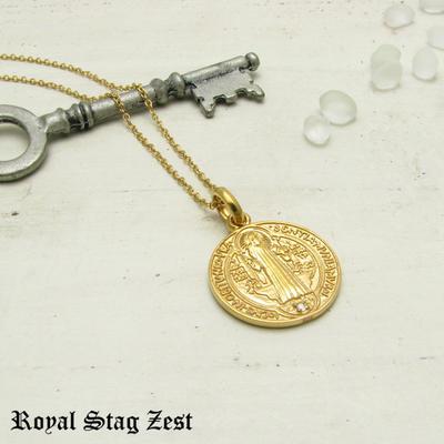 ネックレス メンズ シルバー K23RGP ゴールド RoyalStagZEST コイン 硬貨 ラージサイズ 天然 ダイヤモンド SN26-005【ペンダント】