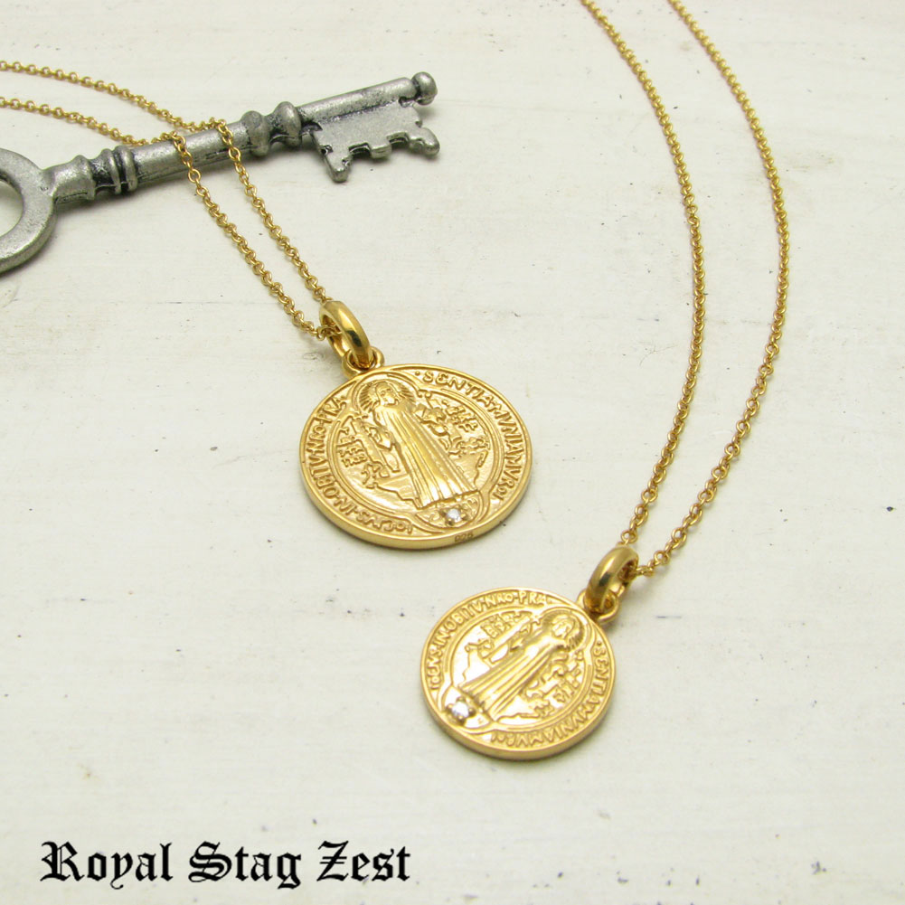 ペアネックレス シルバー K23RGP ゴールド RoyalStagZEST コイン 硬貨 天然 ダイヤモンド 二個セット SN26-005006【ペンダント】