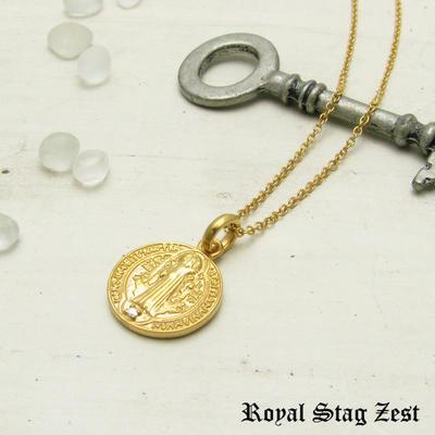 ネックレス メンズ レディース シルバー K23RGP ゴールド RoyalStagZEST コイン 硬貨 スモールサイズ 天然 ダイヤモンド SN26-006【ペンダント】
