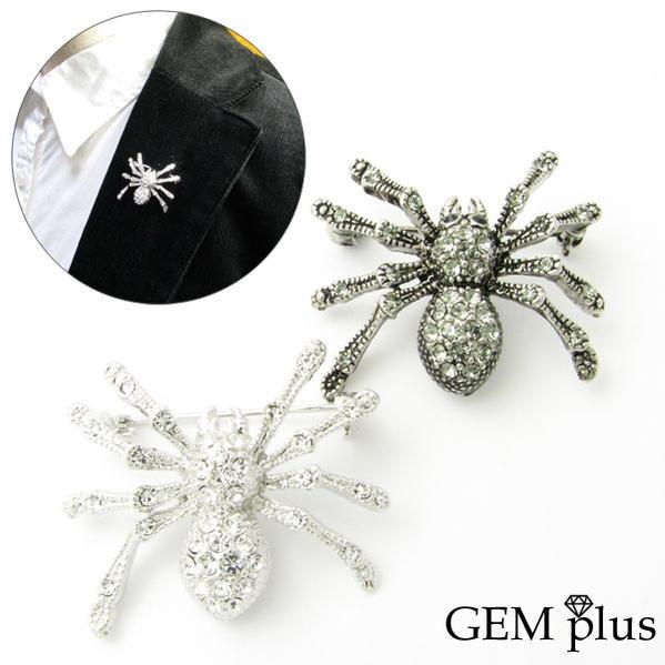 妖しく美しい蜘蛛のピンブローチ OUTLET SALE ピンブローチ クモ 蜘蛛 スパイダー ラペルピンKS40004 即日出荷 レディース メンズ plus ラベルピン GEM 結婚式