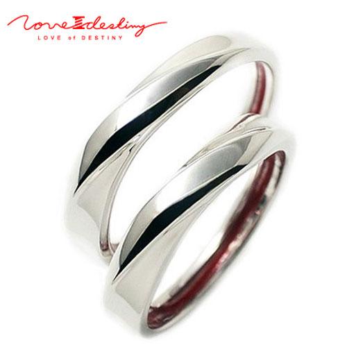 ペアリング 指輪 LOVE of DESTINY 運命の愛 絆 赤い 本物の糸 シルバーリング ウェーブタイプ シンプルLODR-009p