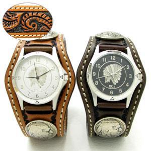KC,s腕時計(ケーシーズ)クラフト フローラル柄 牛革 ペアウォッチ 3コンチョレザーウォッチ 4色KPR505p【ケイシイズ】