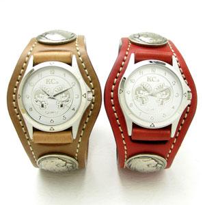 KC,s腕時計(ケーシーズ)馬革 コードバン ペアウォッチ 3コンチョレザーウォッチ 7色KSR505p【ケイシイズ】