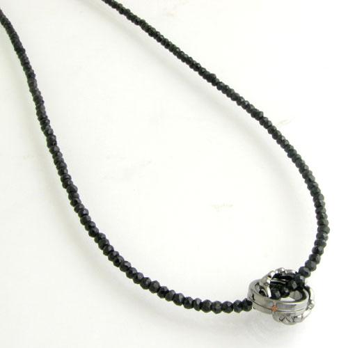 ネックレス メンズ RoyalStagZEST レッドダイヤモンド ブラックスピネルチョーカーWリングシルバーネックレスSN25-021