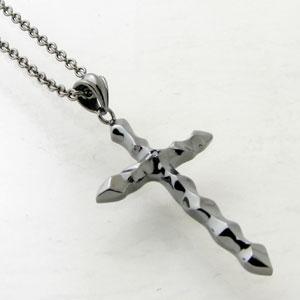 ネックレス メンズ RoyalStagZEST ブラックダイヤモンド ブラックコーティングシルバーデザインクロスシルバーネックレスSN25-004