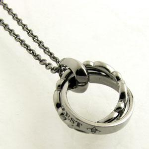 ネックレス メンズ RoyalStagZEST ブラックダイヤモンド ブラックコーティングシルバーWリングデザイン シルバーネックレスSN25-009