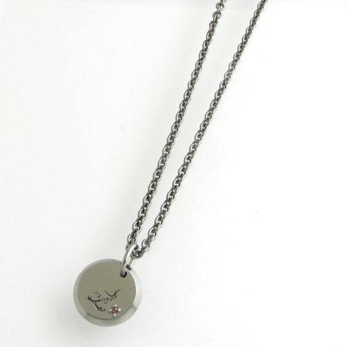 ネックレス メンズ RoyalStagZEST レッドダイヤモンド ブラックコーティングシルバーロゴプレートシルバーネックレスSN25-014