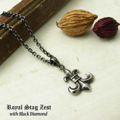 ネックレス メンズ RoyalStagZEST シルバーネックレス ユリの紋章 百合 ゴシック ブラックダイヤモンド SN25-033【ペンダント】
