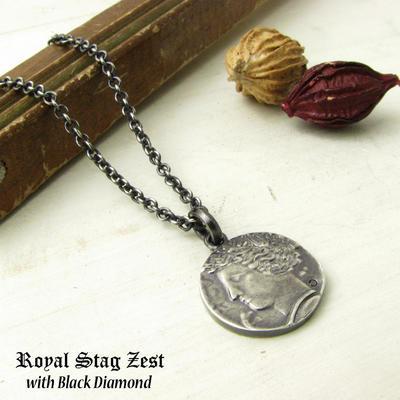 ネックレス メンズ RoyalStagZEST シルバーネックレス コイン プレート レリーフ 馬 ホースブラックダイヤモンド SN25-034【ペンダント】