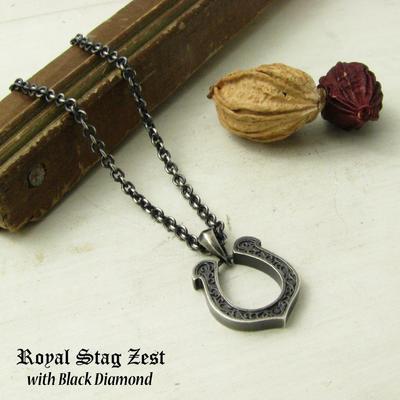 ネックレス メンズ RoyalStagZEST シルバーネックレス ホースシュー 馬蹄 ラッキー ブラックダイヤモンド SN25-035【ペンダント】