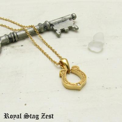 ネックレス メンズ シルバー K23RGP ゴールド RoyalStagZEST ホースシュー 馬蹄 スモールサイズ 天然 ダイヤモンド SN26-010【ペンダント】