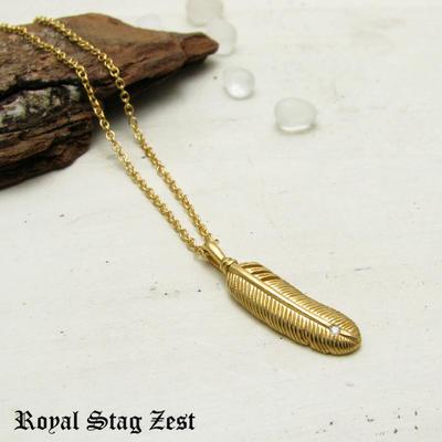 ネックレス メンズ フェザー シルバー K23RGP ゴールド RoyalStagZEST 羽根 スモールサイズ 天然 ダイヤモンド SN26-012【ペンダント】