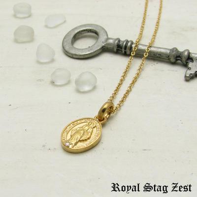 ネックレス メンズ 不思議のメダイ シルバー K23RGP ゴールド RoyalStagZEST 奇跡のマリア スモールサイズ 天然 ダイヤモンド SN26-014【ペンダント】