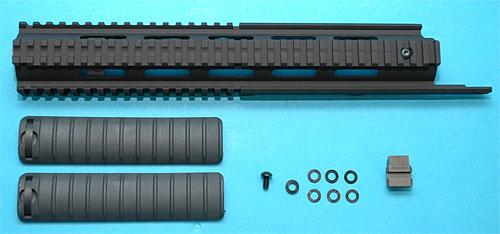 【高精度・各部アジャスト可能でポン付!】G&P GP442A 東京マルイM14 RAS キット/BK(黒・ブラック)★A6063をCNC加工!検)サバイバルゲームトイガン電動ガン