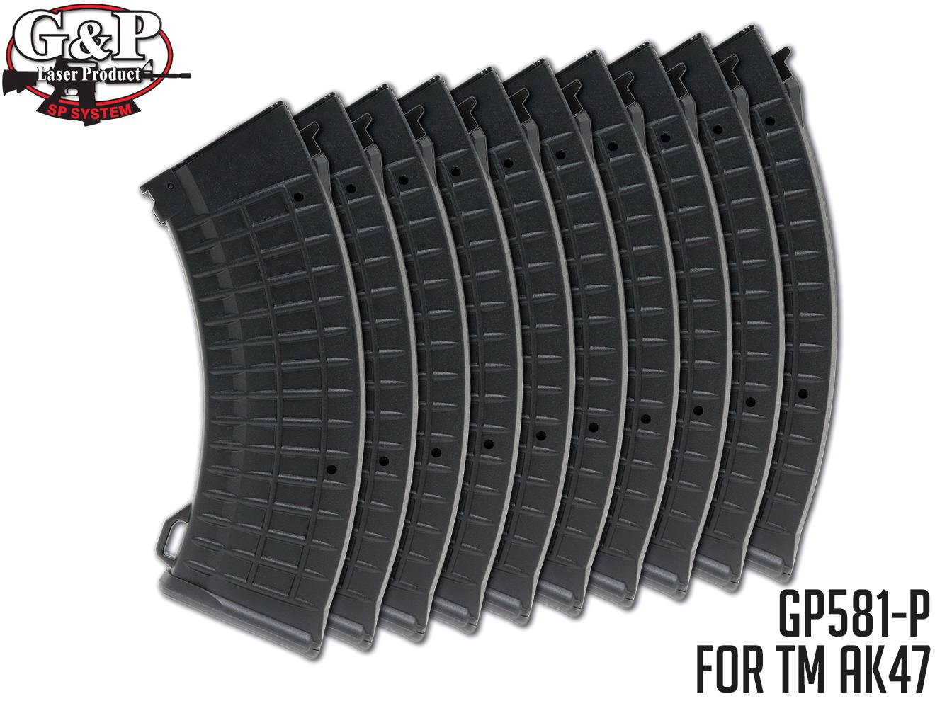 【お得な10個入りパック】G&P 東京マルイ AK47シリーズ用 150連ワッフル・パターン・マガジン ブラック★GP581 MARUI AK47 150Rds Waffle Pattern Magazine BK 予備マガジンに!検)サバゲ ジーアンドピーフィールド