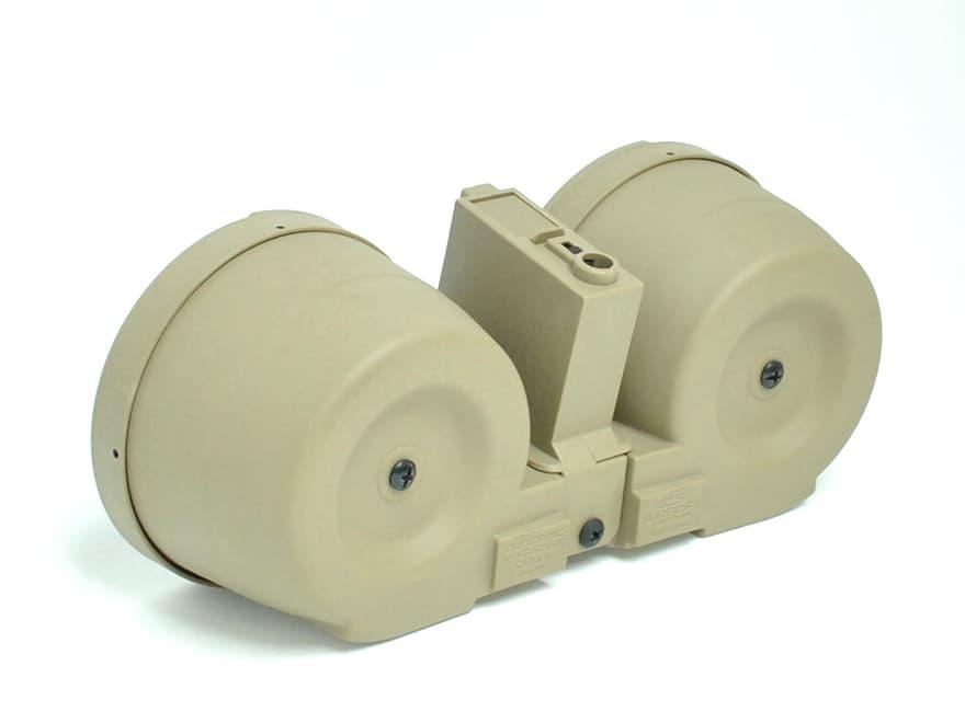 【装弾数約2500発/アタッチメントシステム】ICS C-MAG 電動ドラムマガジンw/M4用アダプター/TAN◆マルイSTD&同社M4シリーズに!LMG/多弾化