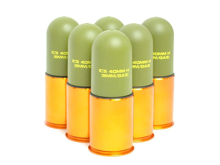 【BBシャワー&スラッグ弾/2WAY発射方式】ICS 40mm ライトウェイト グレネード(スラグモスカート)×6個パック◆アルミ&ABS樹脂製/40mmモスカート