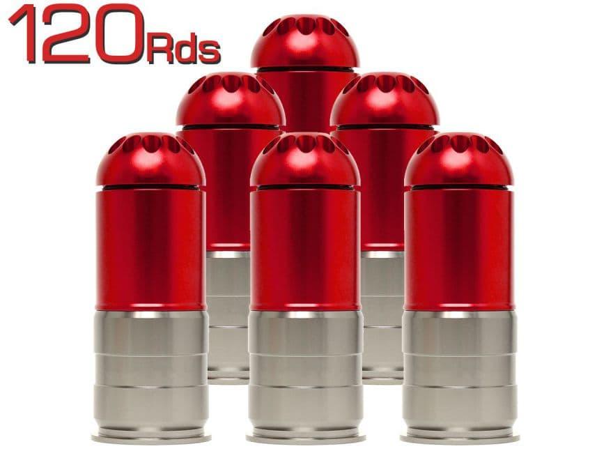 MILITARY-BASE(ミリタリーベース) フルメタル40mm ガスグレネード カート Gen.2 120Rds 6個セット◆ドドンとオトクな6個パック モスカート互換 M79対応