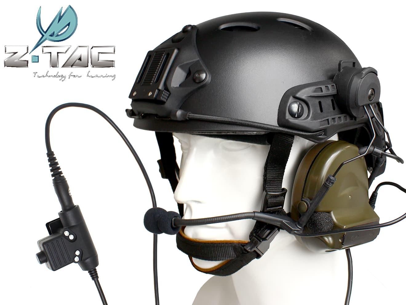 Z-TACTICAL CMTC 2ヘッドセット+U94タイプPTT(KENWOOD用)+OPS CORE CARBONEタイプ ヘルメット+ARCレールアダプター BK◆嬉しい4点セット!超オトク価格でご提供!