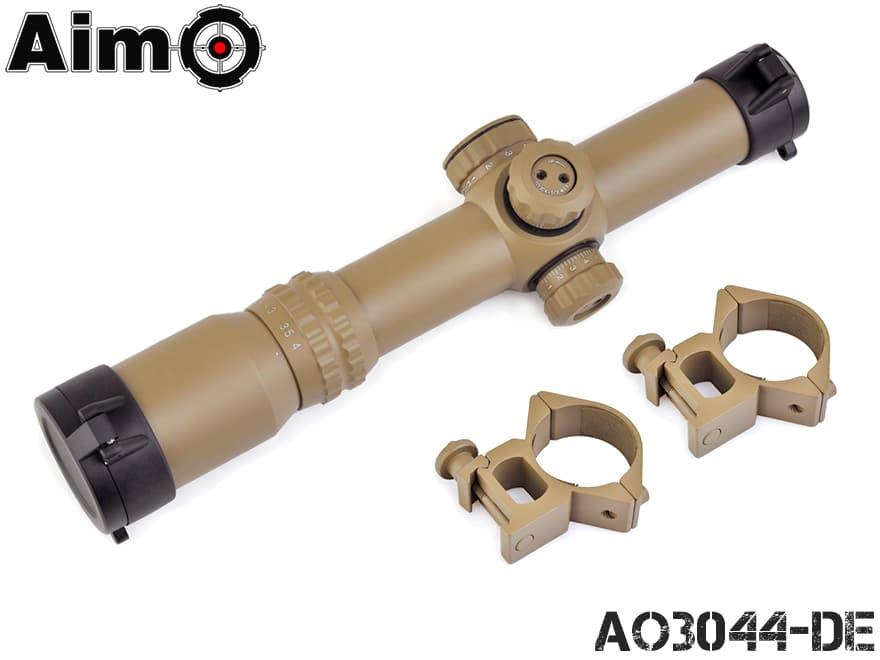 AIM-O 2-5x24 イルミネーション スコープ DE◆パドラーキャップ付 マウント付属ですぐ使える 送料無料
