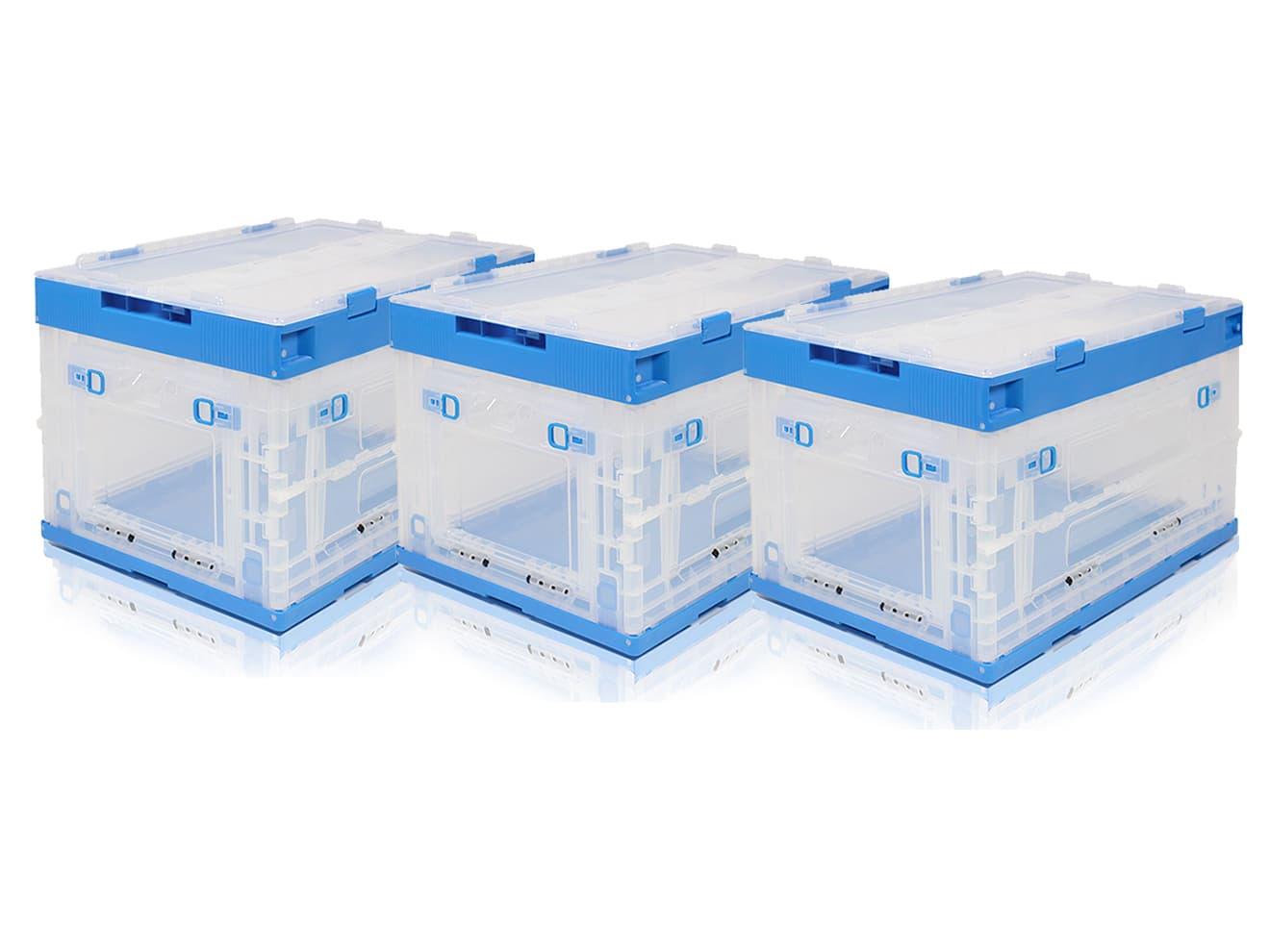 折り畳みコンテナ 50L 中窓2箇所付(長辺1&短辺1) 3個セット 透明&青◆オリコン コンテナボックス 折りたたみ 収納BOX ストレージボックス