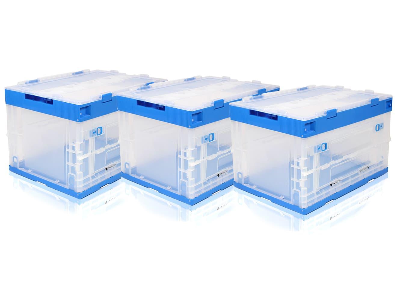 【3個セット】折り畳みコンテナ 50L 中窓1箇所付(長辺1) 透明&青◆オリコン コンテナボックス 折りたたみ 収納 収納BOX 工具 道具入れ ツールBOX