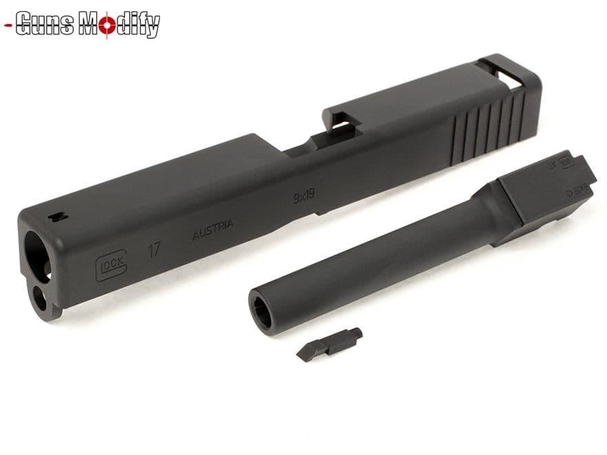 Guns Modify G17 CNC アルミスライド&アウターバレルセット 2016Ver◆東京マルイ グロック GLOCK G17用 G22にも メタルスライド 削り出し DMD076刻印 深掘り