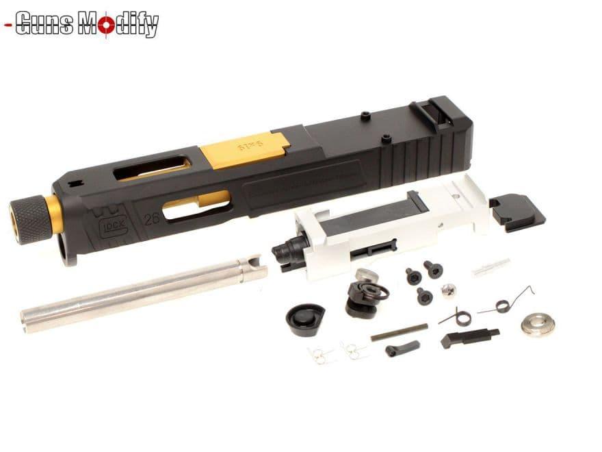 GunsModify G26 SA CNC Tier1 RMR アルミスライド&ボックスフルート スレッドステンレスアウターバレルw/ブリーチフルSET 黒&金◆マルイ グロック SAIタイプ