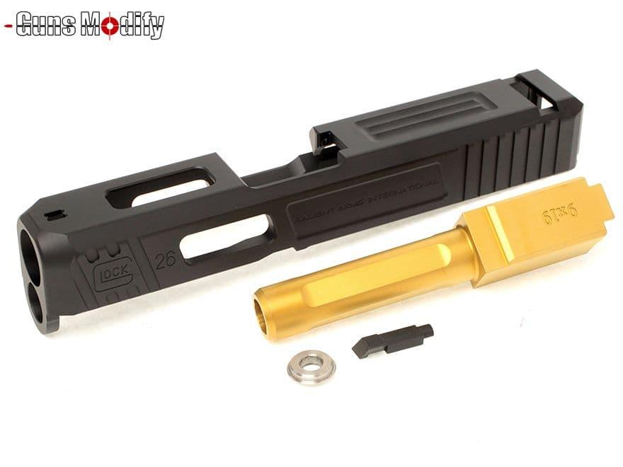 Guns Modify G26 SA CNC Tier 1 アルミスライド&ステンレスボックスフルートアウターバレルSET 黒&金◆マルイ グロック SalientArmsカスタムに フルートバレル