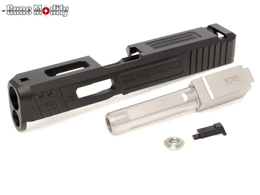 Guns Modify G26 SA CNC Tier 1 アルミスライド&ステンレスボックスフルートアウターバレルSET 黒&銀◆東京マルイ グロック GLOCK SAIタイプ カスタムスライド